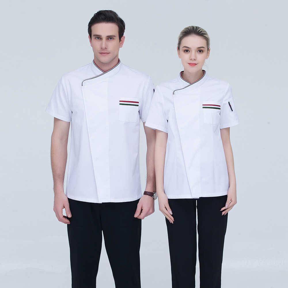 Однобортный короткий рукав шить Цвет карман шеф-повар Ресторан пекарня суши-кафе летняя Рабочая форменная куртка для Для мужчин и Для женщин