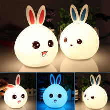 2018 New LED Rabbit Night Light Multicolor Silicone Touch Sensor Tap Control Nightlight For Children Baby Kids Bedside Lamp