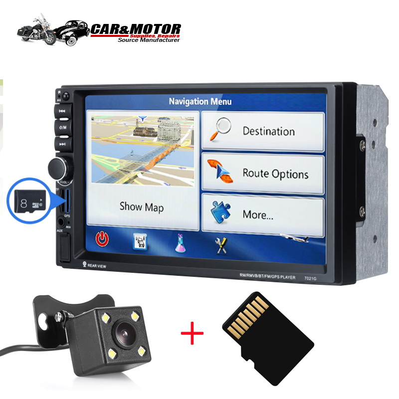 7021G Universal Multimedia Player Player 7 inch Touch Screen GPS Navi Bluetooth TF Card AUX MP3/MP4 Player Rear 720P Camera Map