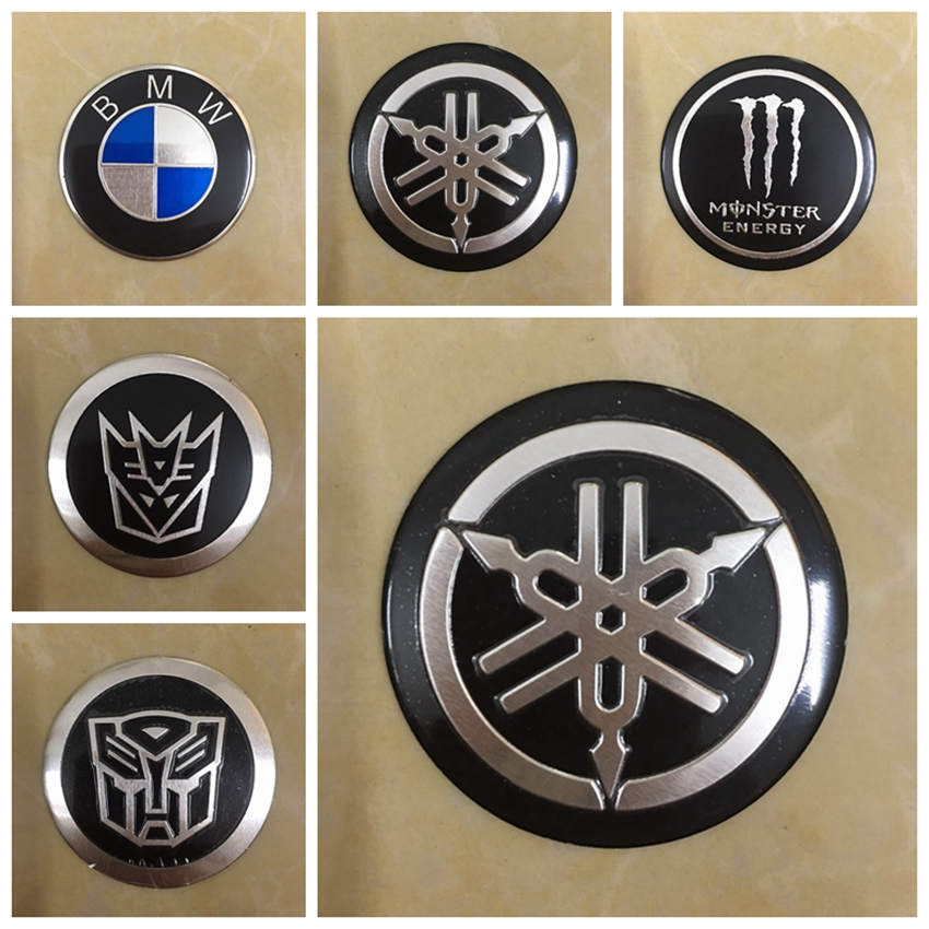 General Motorcycle Electric Scooter Car Accessories For BMW Kawasaki Transformers Honda Yamaha Logo Metal Stickers Applique