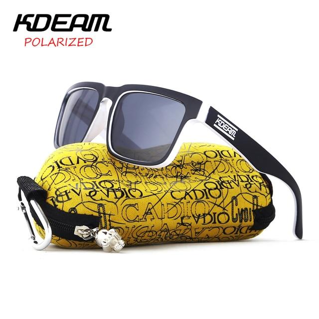 669bf96fc56 KDEAM Summer Square Sunglasses Men Polarized Sun Glasses Sport Black White frame  HD Black lens UV400 With Hard Case KD901P-C19
