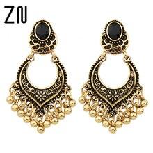 ZN Tibetan Design Metal Beads Big Chandelier Earrings