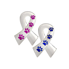 Ribbon Pin Silver Metal Purple Blue Paw Brooch For Women Men Dog Lover Suit Shirt Collar Lapel Pins Fashion Jewelry Gift(China)