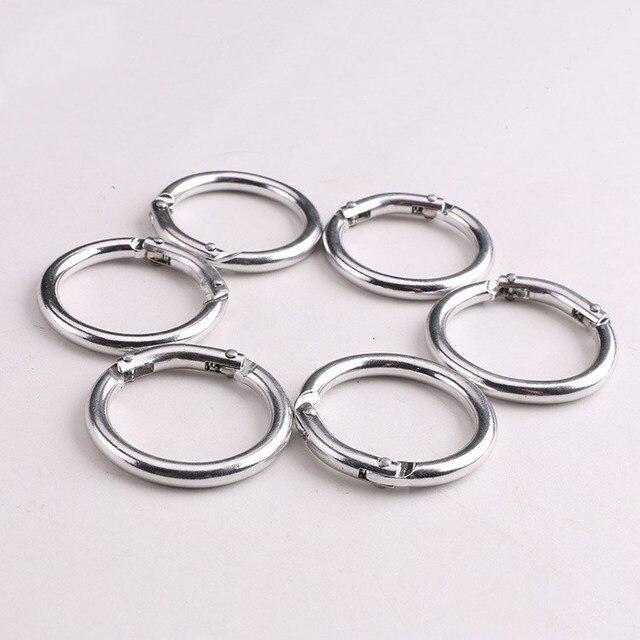 6pcs Alloy Metal Spring Key Ring Circle Round Carabiner Camping