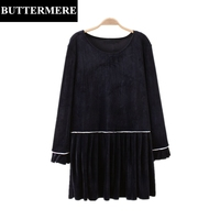 BUTTERMERE Autumn Velour Dress Plus Size 3XL Loose Butterfly Sleeve Pleated Dress Navy Blue O Neck