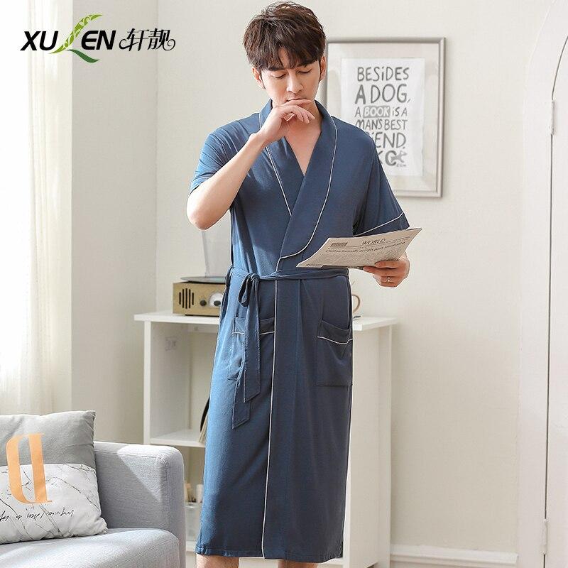Clever Männer Nachtwäsche Modal Bad Robe Kimono Bademantel Sommer Dressing Kleid Kurzarm Schlaf Und Lounge Männliche Hause Nacht Tragen
