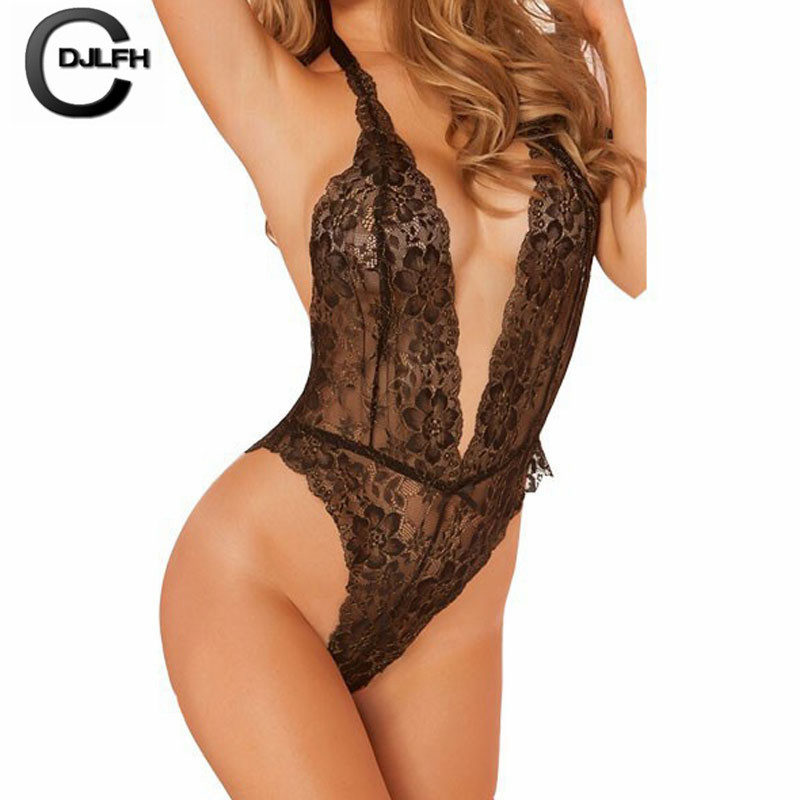 2019 Women Bra Set Transparent Halter Lace Underwear Women Backless One-piece Lingerie Bralette Exotic Babydolls Sexy Costumes