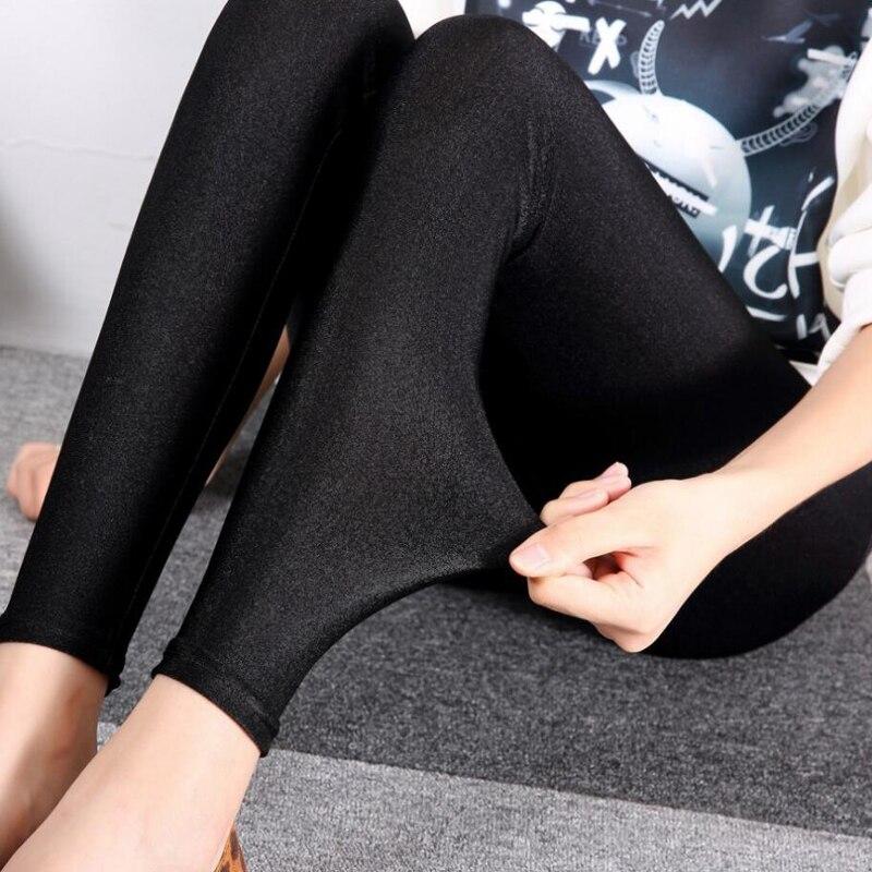 NDUCJSI High Waist Shiny Leggins Women Casual Leggings Black Elasticity Slim Solid Female Simple Woman Push Up Plus Size Legging