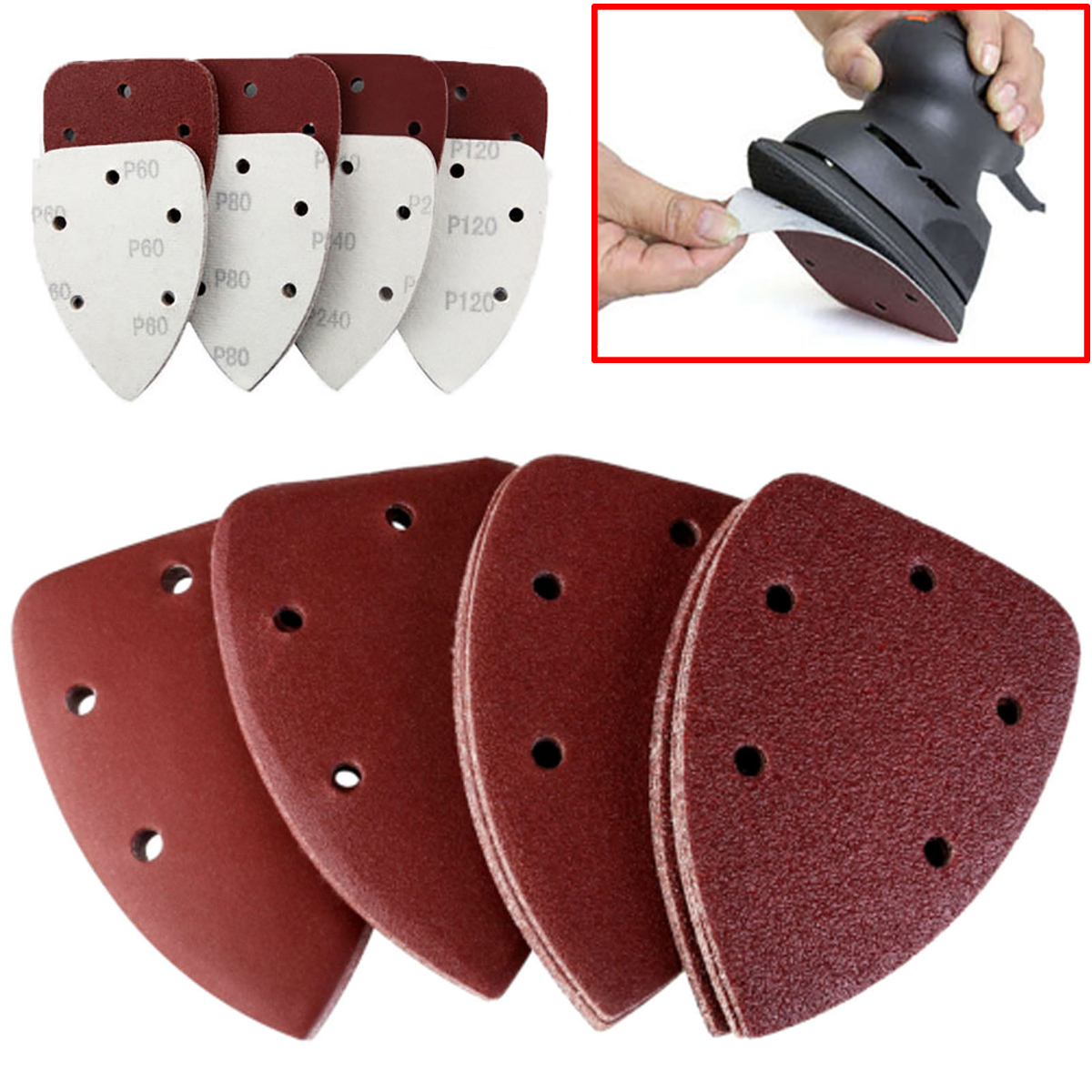 40pcs New Sanding Pads Mouse Sandpaper Disc 40/80/120/240 Grit 140x100mm For Polishing Tools 10pcs dremel accessories sandpaper sanding flap polishing wheels sanding disc set shutter polishing wheel for rotary power tools