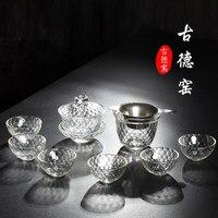 2017 Engrossado copos de chá de vidro transparente definir casa requintada taça de cristal Kung Fu jogo de chá