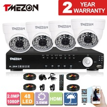 Tmezon AHD 4CH DVR 4pcs 2.0MP 1080P Camera Security Surveillance CCTV System Auto IR-Cut Night Vision Up to 40m 1TB 2TB HD Kit
