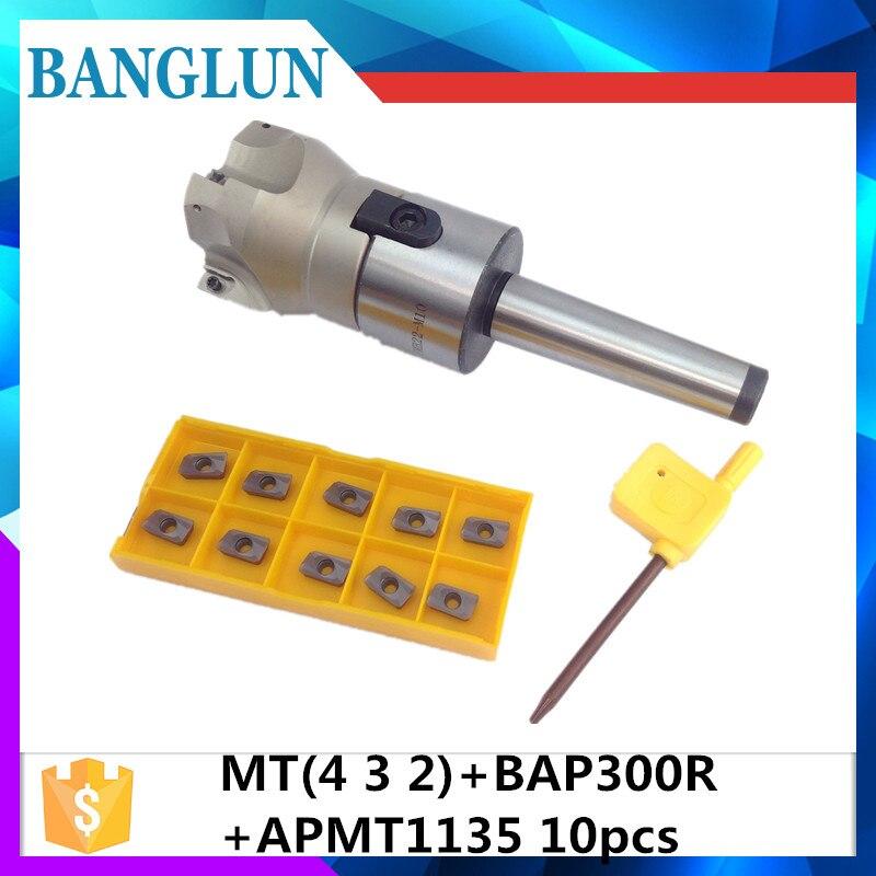 New MT2 FMB22 M10 MT3 FMB22 M12 MT4 FMB22 M16 Shank 300R 50 22 Face Milling CNC Cutter + 10pcs APMT1604 Inserts For Power Tool precision m16 bt40 400r 63 22 face endmill and 10pcs apmt1604 carbide insert new