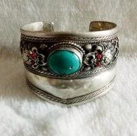 Venda quente nova-Atacado-hot Artesanais Linda prata Tibetana turquesas coral dragão bangle bracelet cuff frete grátis