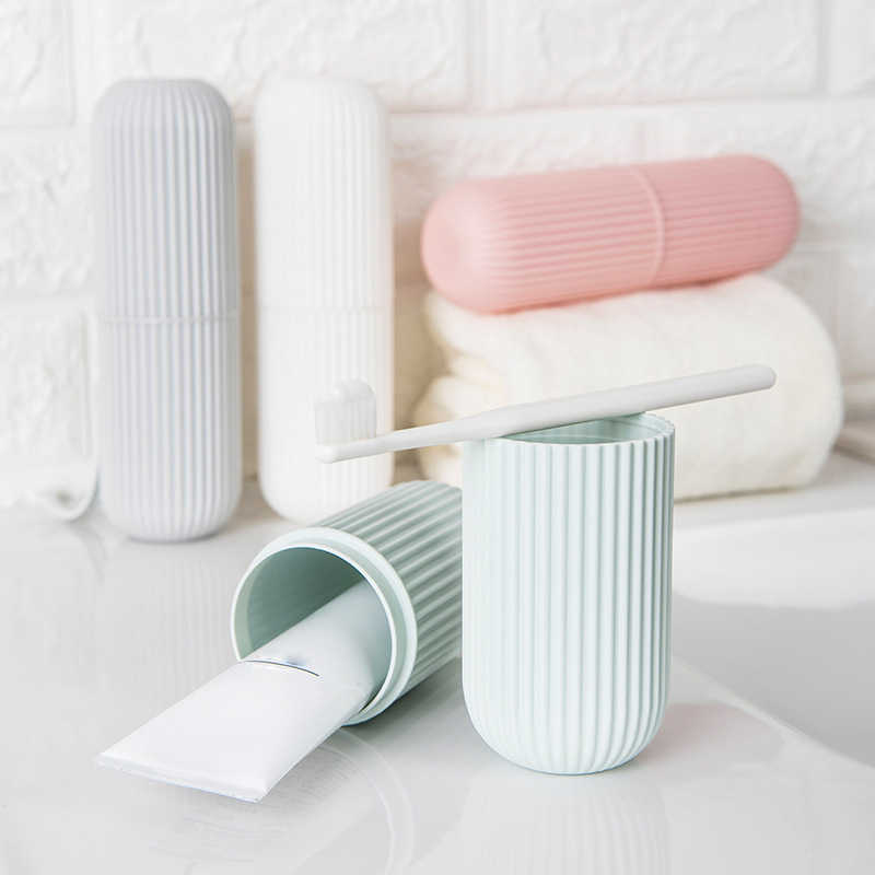 Creative Portable Toothpaste Toothbrush Holder Case Non-Slip Strip Germproof Storage Box  Plastic Couple Bathroom Accessories