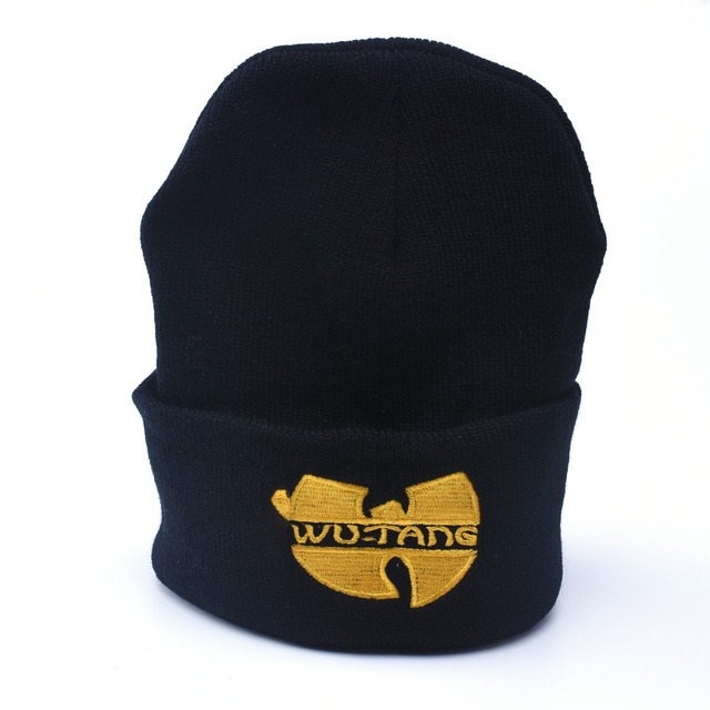 f5f688449 US $1.72 5% OFF|Winter Beanie Hat Man And Woman Wu Tang Clan Warm Casual  Beanie Hat Women Hip Hop Black Knitted Bonnet Ski Gorros Toca Unisex-in ...
