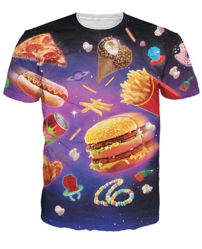Space Junk T-Shirt fattening delicious <font><b>foods</b></font> yummy <font><b>vibrant</b></font> design t shirt hamburger chips Ice Cream pizza galaxy Women Men tees