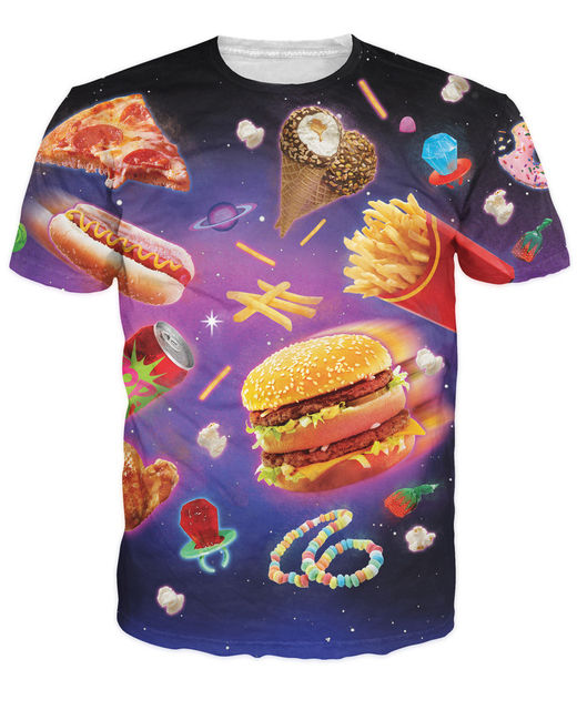 Space Junk T-Shirt fattening delicious foods yummy vibrant design t shirt hamburger chips Ice Cream pizza galaxy Women Men tees