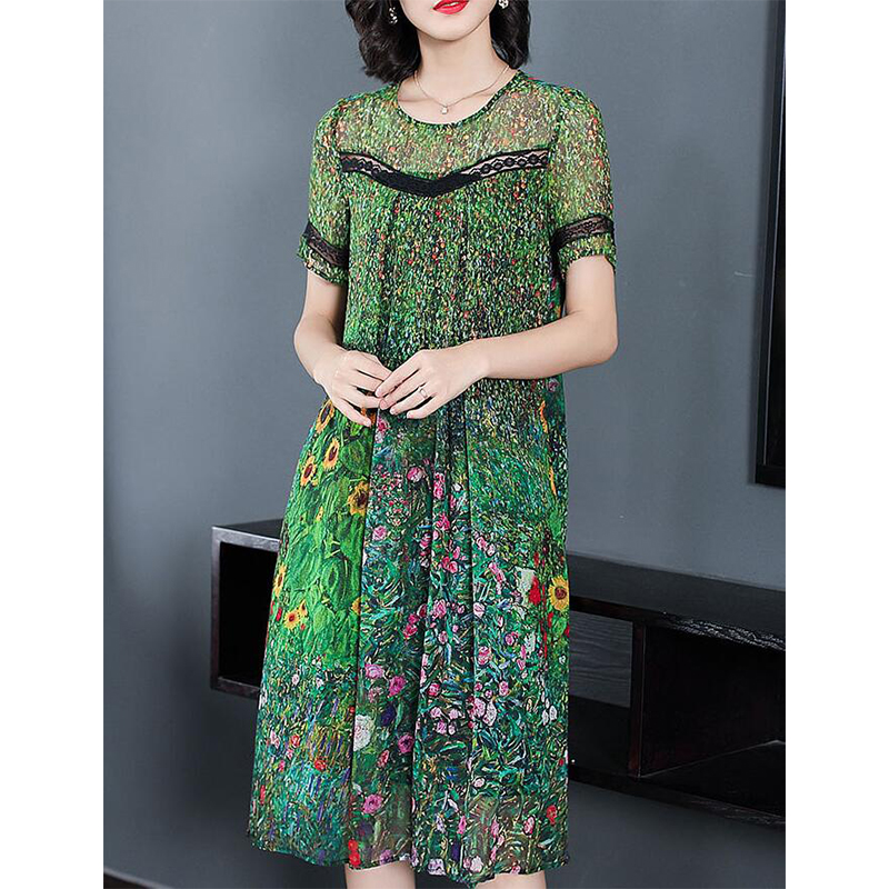 Vintage Peacock Green Silk Dress 2018 Floral Print Summer Dresses Plus Size M 3XL Gown Lace Stitching Short Sleeve Robes PP 362