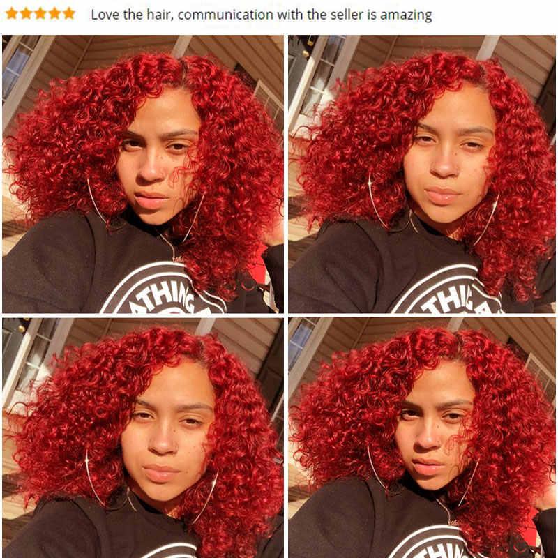 Pinshair красный цвет, волосы, ткань Бургундия перуанская глубокая волна пучок s 10-26 дюймов человеческие волосы переплетения 99J красные волосы 1/3 пучок Nonremy