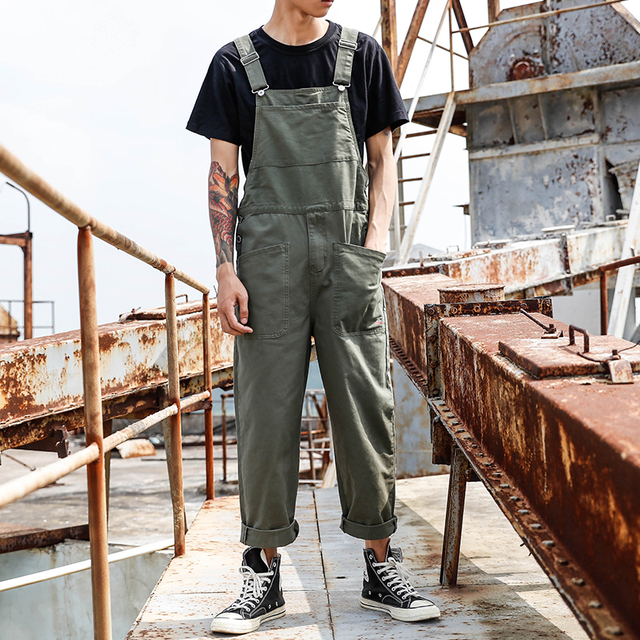 Punk Phong Cách Đàn Ông Áo Lỏng Lẻo Jumpsuit Mens Một Mảnh Jumpsuit Hip Hop Treo Quần Nam Giản Dị Tổng Thể với Túi Lớn