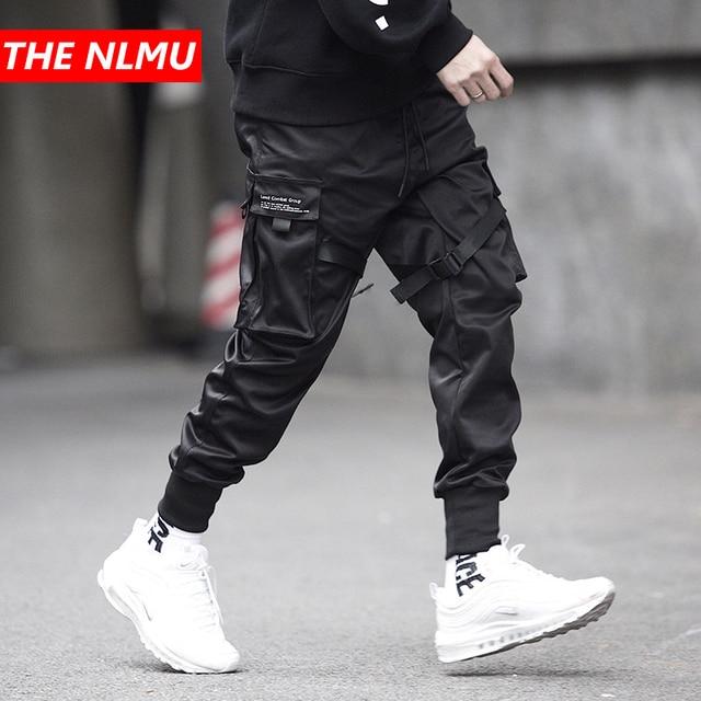 Homens multi bolso elástico cintura design harem pant homem streetwear punk hip hop calças casuais corredores masculino dança calça gw013