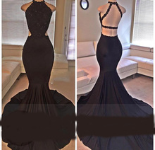 2018 Sexy Black Halter Satin Mermaid Long Prom Dresses Lace Sequins Beaded Backless Side Slit Evening Formal Party Dress