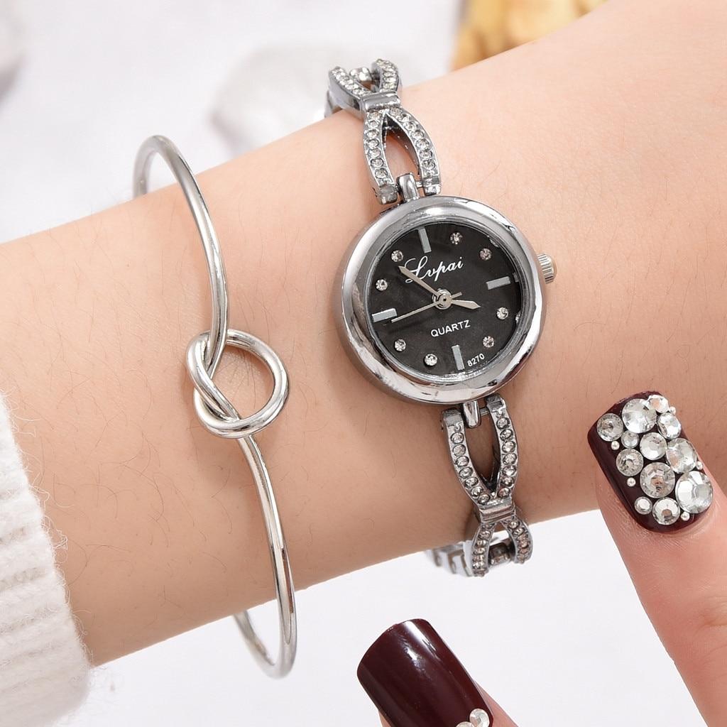Luxury Bracelet Watch Diamond-Strap Women for Simulation Knot Heart-Shaped 2pcs/Set