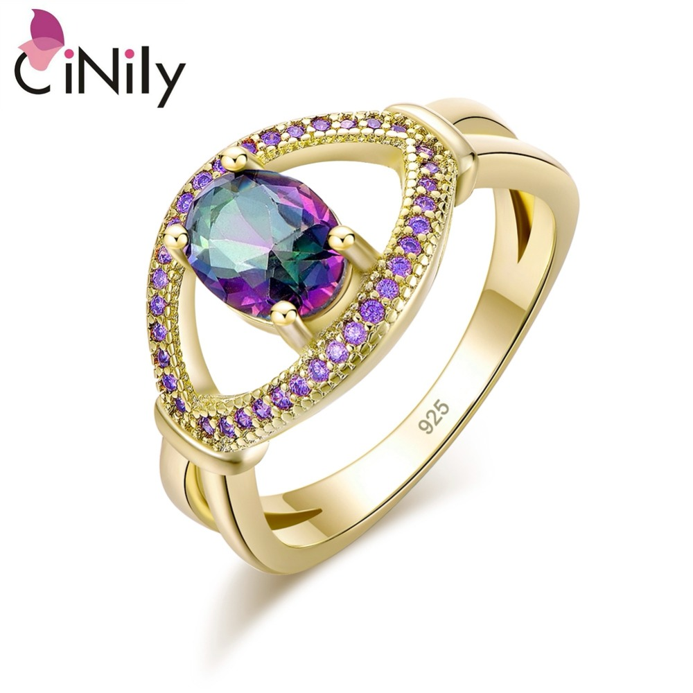 CiNily Mystic Zircon Purple Zircon Yellow Gold Color Wholesale Hot Sell Jewelry for Women Christmas Gift Ring Size 5-10 NJ10880