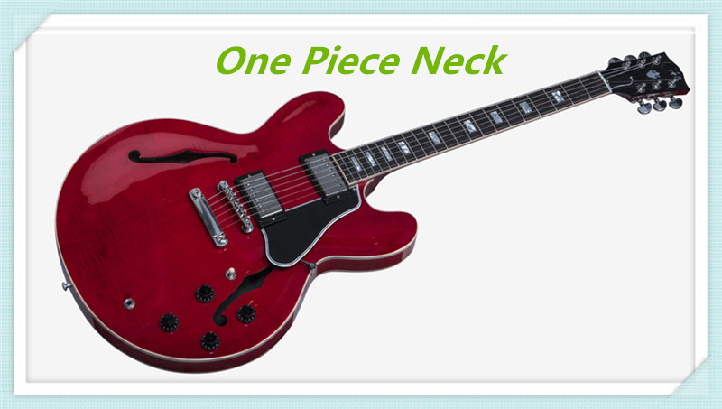 Tienda personalizada de carrera limitada Curly ES-335 guitarra eléctrica transparente rojo acabado Jazz guitarras China cuello de una pieza