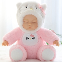 Baby Doll Stuffed & Plush Reborn Baby Doll Sleeping Baby Plush Toys Plush Bjd Bebe Doll Silicone Face Toys for Kids Xmas Gift