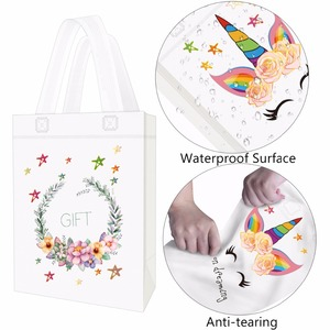 Image 3 - 20PCS Hot Sale Unicorn Shopping Bag Laminated Waterproof Non woven Gift Bag Kids Birthday Party Gift Tote Bag Unicorn Party Bags