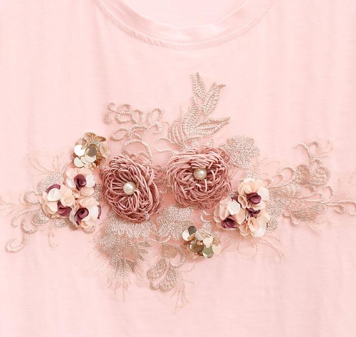 L&Y Heavy Work Embroidery Flower T shirts + Jeans Women Set Fashion Suits Set Vogue Stylish European Summer 2 Piece Sets