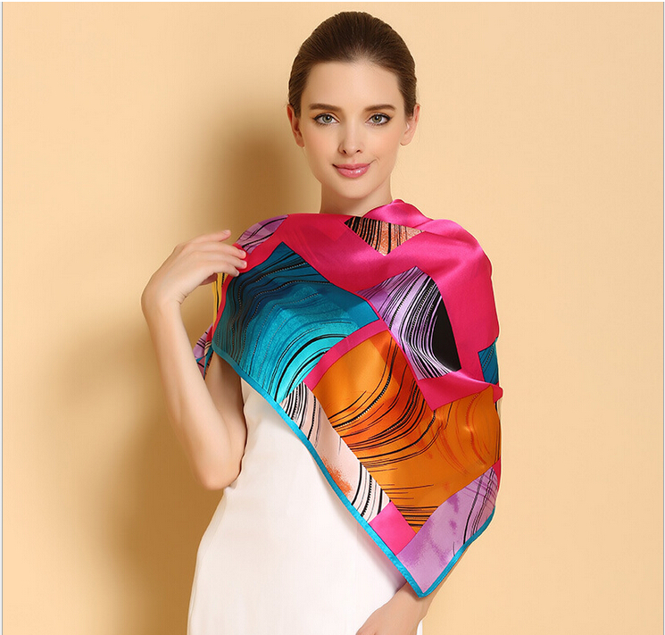 new2015 women autumn large square plaid  silk scarf  famous brand desigual floral printed 100% pure silk scarf shawls lady scarf