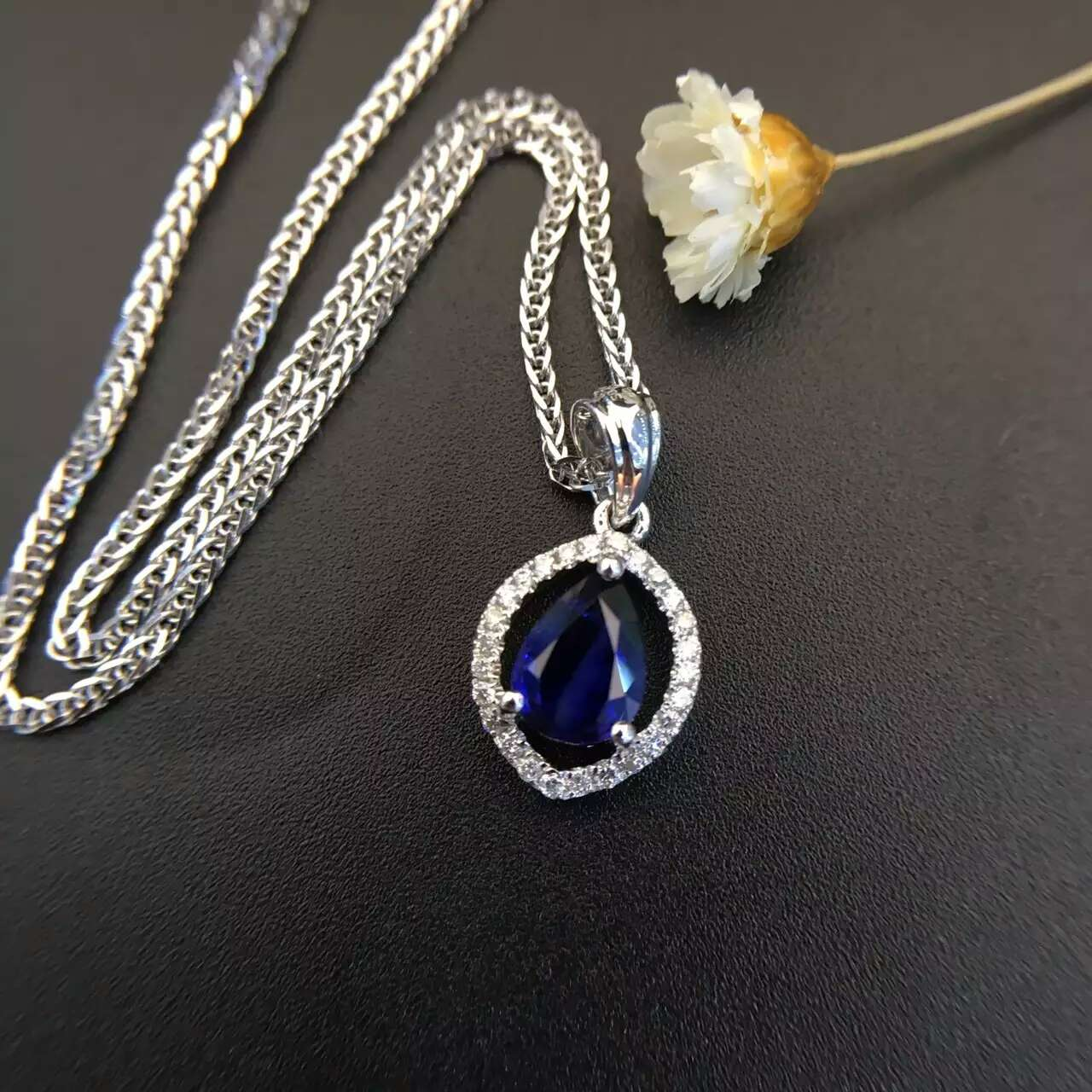 0 744ct 0 115ct 18K White Gold Natural Sapphire and Pendant font b Necklace b font