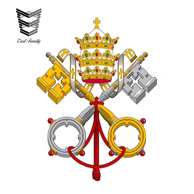 EARLFAMILY 13cm X 9.75cm Car Styling Holy See Catholic Church Emblem Vinyl Car Sticker See Of Rome City Waterproof Accessories
