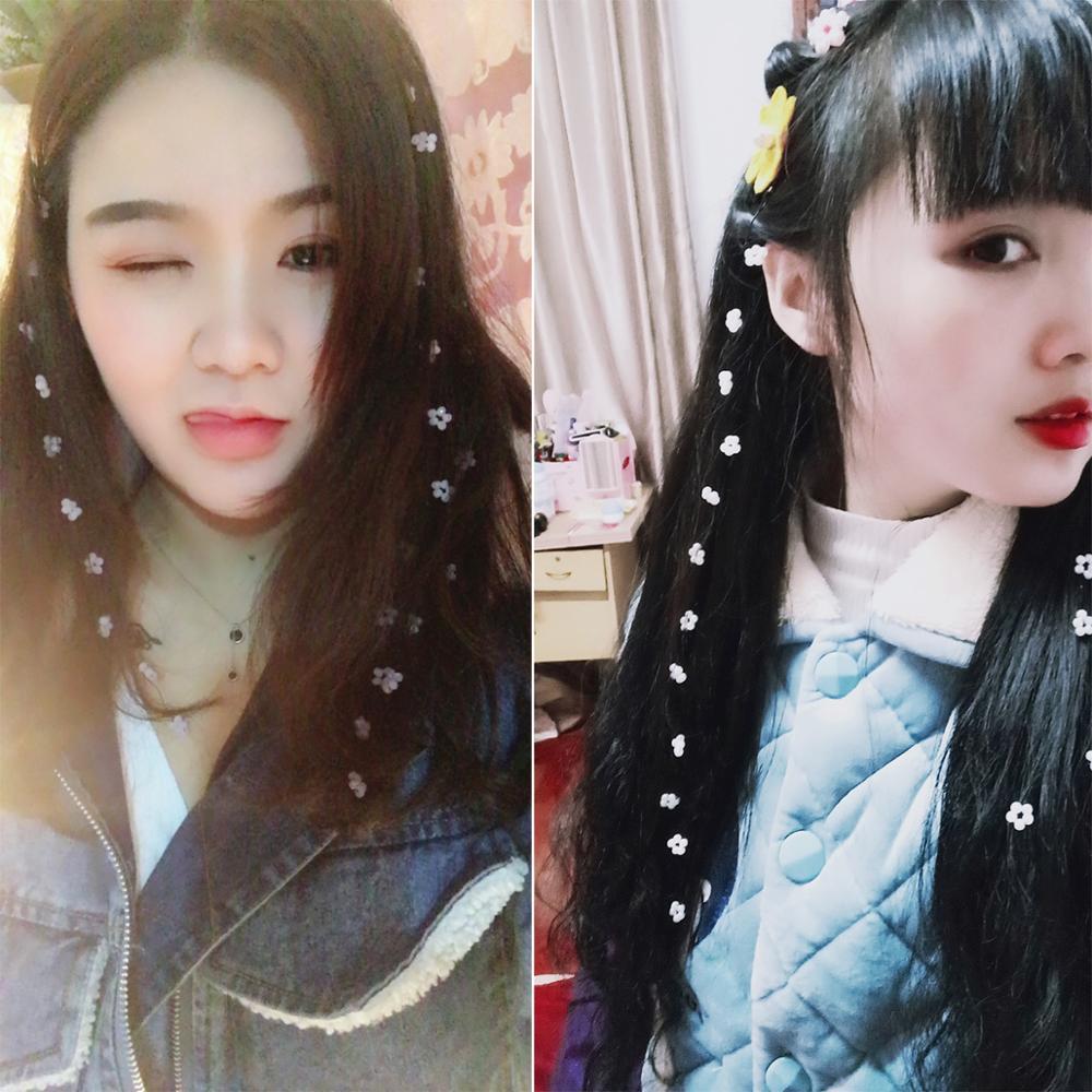 1 шт., корейские модные Блестки для волос, наращивание цветов, пряди для волос, длинная цепочка, декоративный парик для вечеринки, макияж, акс...