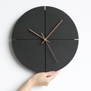 Wooden Wall Clock Modern Design Living Room Decoration Nordic Minimalist Personality Wood Clocks Wall Watch Home Decor Silent