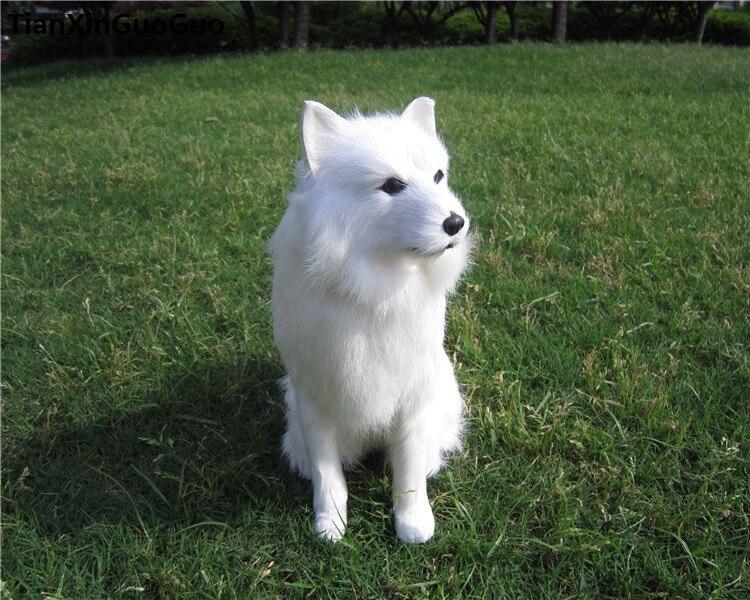 Simulation samoyed chien squattant pose 25x8x24 cm modèle dur jouet polyéthylène & fourrures chien blanc artisanat décoration maison cadeau s0668