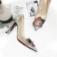 2018 European and American spring and autumn new pointed diamond high heel fine with single women's shoes sexy lace gauze weddin