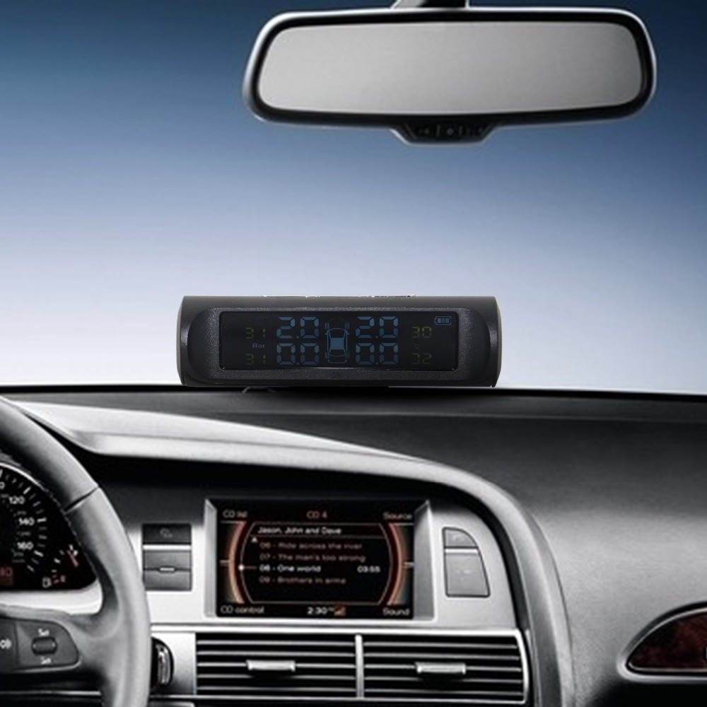 Professional Solar TPMS Car Tire Pressure Alarm Monitor System Display 4 External Sensors Temperature Warning Fuel Save 13
