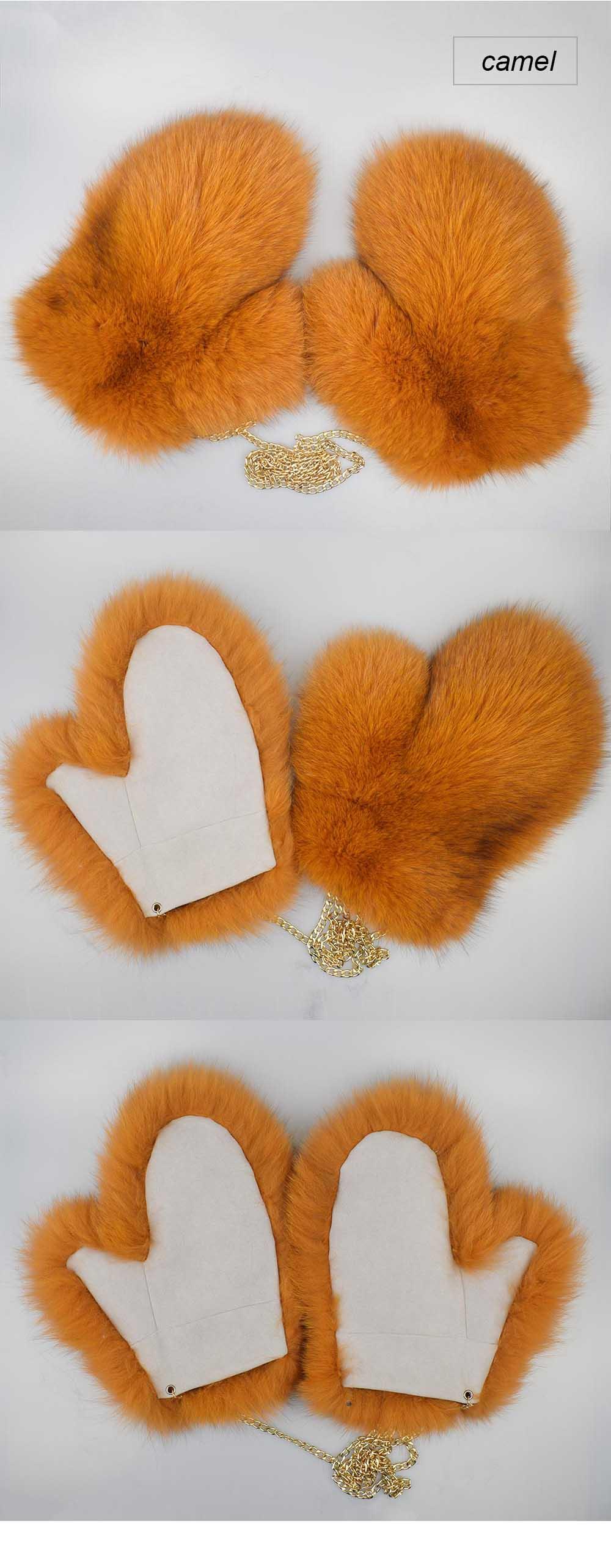 fox fur gloves color camel
