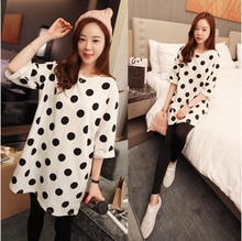 Casual summer style polka dots patterns Cotton maternity clothes big size Pajama Sets pajama for pregnant leisure wear