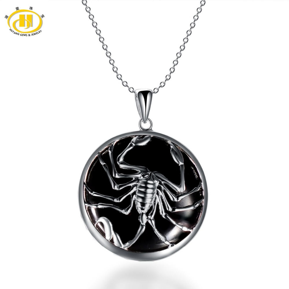 Hutang Scorpio Zodiac Pendant Natural Black Jade 23mm Solid 925 Sterling Silver Necklace Women's Men's Fine Jewelry Birthday цена