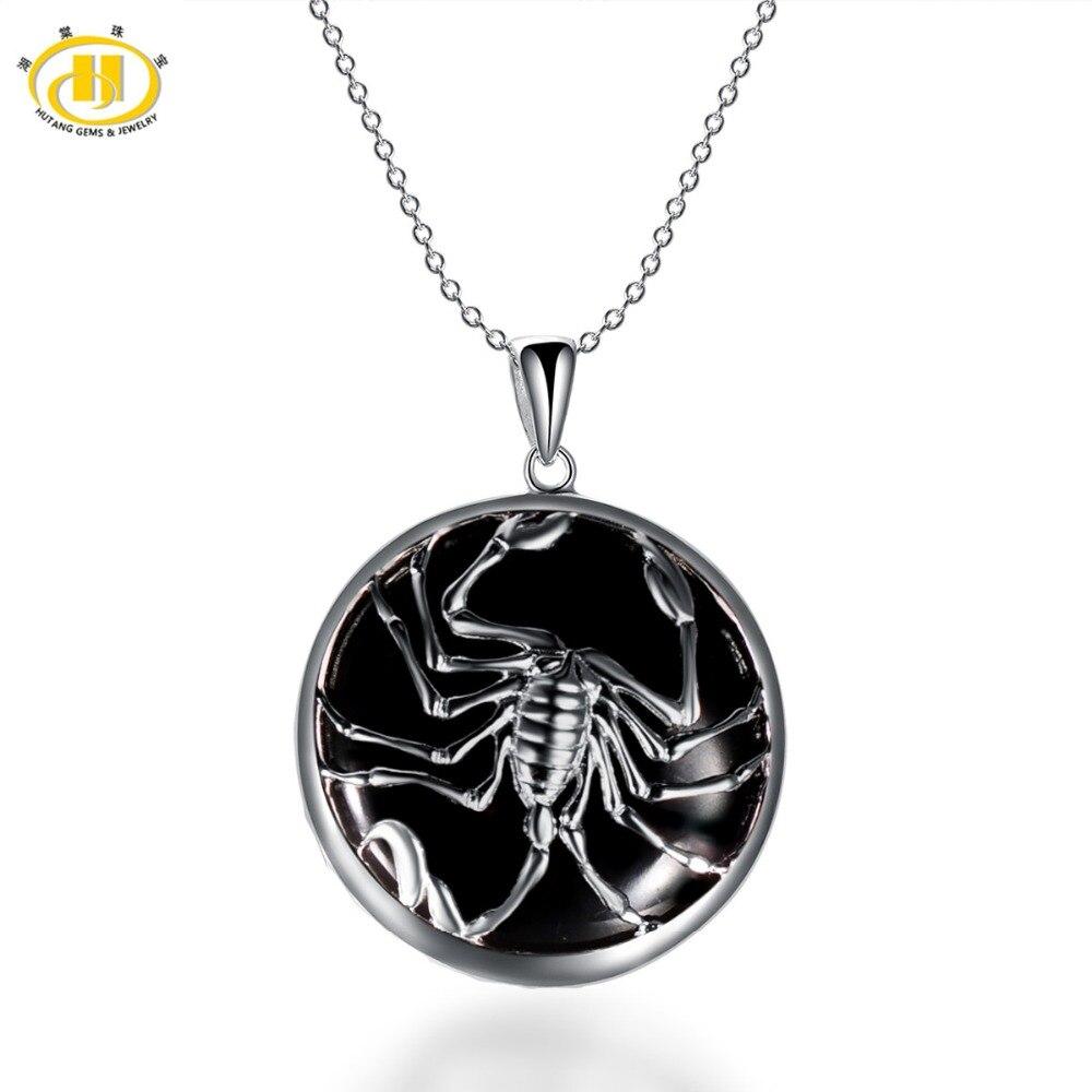 Hutang Scorpio Zodiac Pendant Natural Black Jade 23mm Solid 925 Sterling Silver Necklace Women's Men's Fine Jewelry Birthday