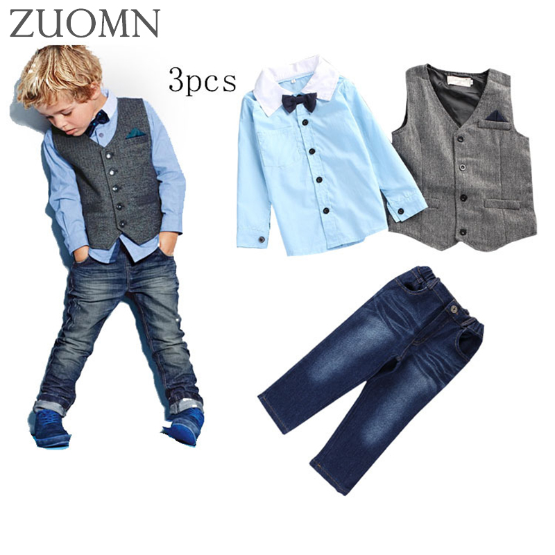 Spring Boys Gentleman Suit 3pcs Shirt+Vest+Jeans Pant Handsome Boys Cowboy 3pcs Suit Denim Pants Plaid Clothes Set YL542 men s cowboy jeans fashion blue jeans pant men plus sizes regular slim fit denim jean pants male high quality brand jeans
