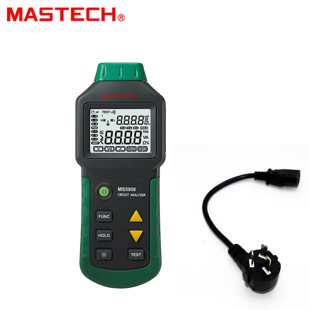 MASTECH MS5908B Circuit Analyzer TRMS AC Low Voltage Distribution Line Fault Tester RCD GFCI Sockets Testing 220v fault line