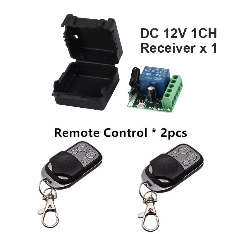 433Mhz Universal Wireless Remote Control Switch DC 12V 1CH relay Receiver Module and 2pcs Transmitter 433 Mhz Remote Controls dc 12v led display digital delay timer control switch module plc automation new