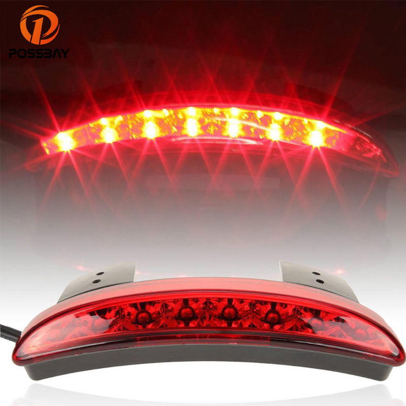 POSSBAY Motorcycle Rear Tail Light LED Flasher Fender Edge Red Auto Motorbike Brake Taillight For Harley Sportster XL 883 1200 possbay motorcycle lightsmoke len rear fender edge led tail light for harley cafe racer davidson iron 883 xl883n xl1200n chopped
