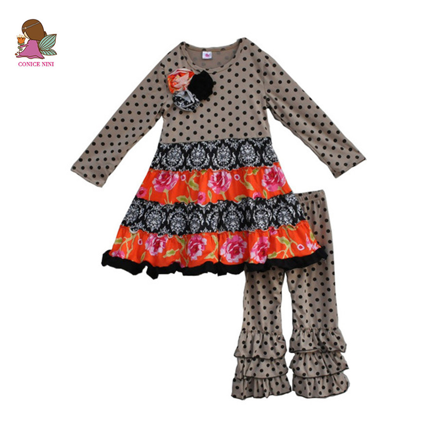 New Arrivals Winter Flower Deco Baby Girls Cotton Swing Dress Matching Ruffle Pants Boutique Sets Children Spring Clothing F111 шланг подающий gardena 3 16 4 6мм 50м 01348 20 000 00