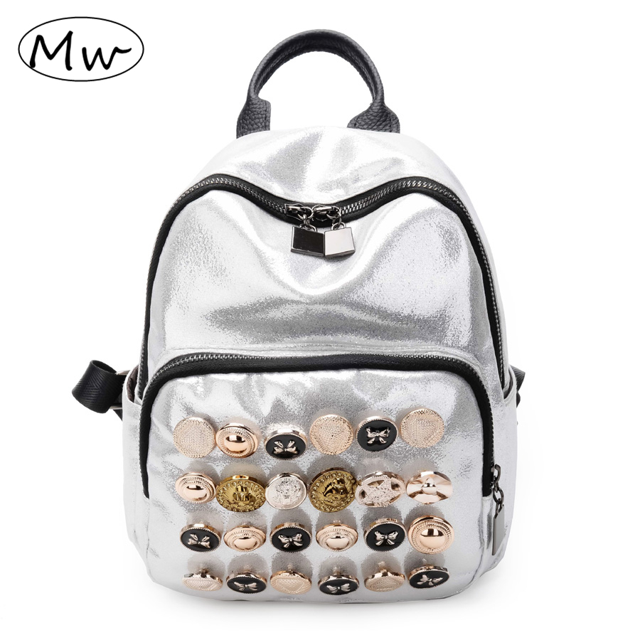Moon Wood Silver Button Decoration Backpack Women Mini Casual Backpack Girls School Bag Students Travel Double Shoulder Bag 2018 moon flac wood